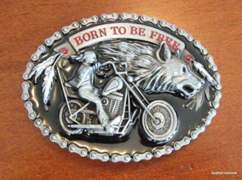 Born to be Free Wolf Bike Chain Feathers Belt Buckle Biker (Bike Chain Belt Buckle)