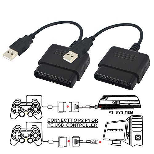 TraderPlus PlayStation 2 Controller to USB Adapter for PC or Playstation 3 Converter Cable for Sony DualShock PS2 PS3 Controllers (3 2 Playstation Playstation Adapter)