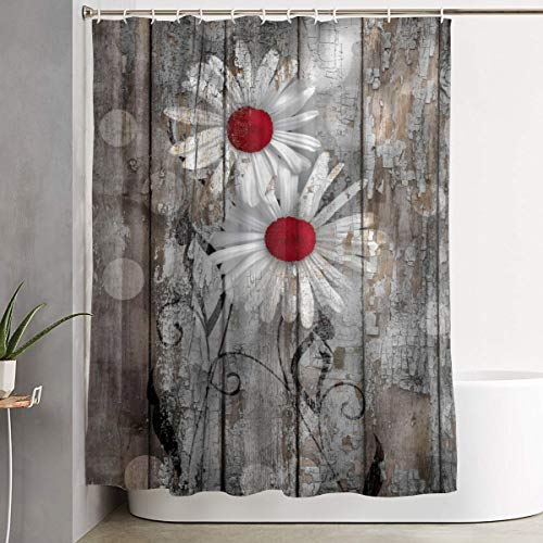 (Mikonsu Lihna Shower Curtain with Hooks Red Brown Rustic Daisy Flowers Farmhouse Art Bathroom Decor Bath Curtain-60x70 in)