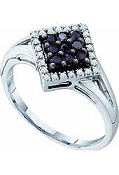 10K White Gold Black Diamond Engagement Wedding Band Ring 1/4 Cttw