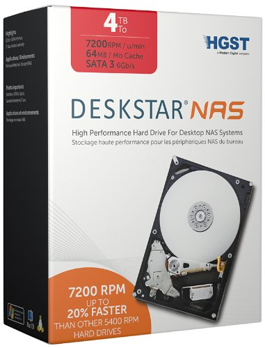 HGST Deskstar NAS 3.5-Inch 4TB 7200RPM SATA III 64MB Cache Internal Hard Drive Kit (0S03664) by HGST