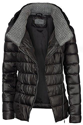 Noir Court Col Femmes Grande Hiver Pour Capuche Tricotée À Ski De Manteau Veste 4X7zqcq