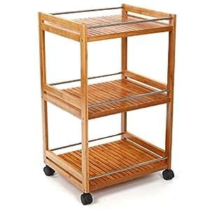 Carrito para cocina o ba o con 3 niveles en bambu amazon - Juegos de cocina con niveles ...