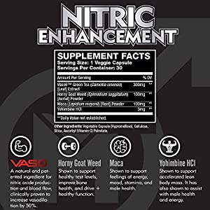 Nitric Oxide Enhancement by Modern Man – Pump Enhancing Alpha Male Booster for Men - Yohimbine HCL, Horny Goat Weed & Maca Root | Increase Size, Strength & Stamina | Muscle Gain Supplement - 30 Pills