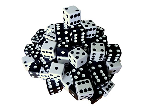 100 Black and White Dice with FREE Dice Bag