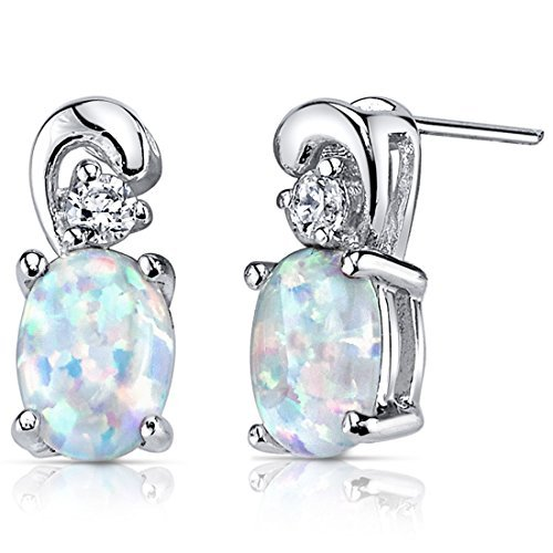 Created Opal Earrings Sterling Silver CZ Accent 1.50 Carats by Peora