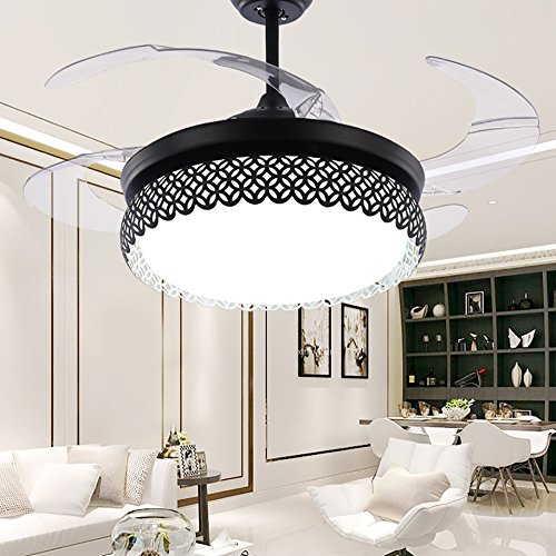 TiptonLight Modern Black Ceiling Fan Lamp LED 3 Changing Light 4 Retractable Blades with Remote Control for Indoor/Bedroom 42-Inch Mute Energy Saving Fan (Acrylic Blades) by TiptonLight (Image #2)