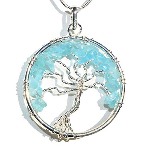 Zenergy Gems Charged Natural Himalayan Natural Blue Apatite Tree of Life Pendant + 20