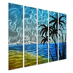 Pure Art Sea and Palms - Contemporary Metal Wall Art - Beach Nautical Decor - Blue Abstract Hanging Sculpture Set of 5 Panel of 34 x 24