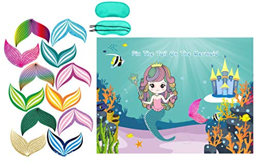 Mermaid Party Favors Pin The Tail on The Mermaid Party Game Under The Sea Party Games 36 Reusable Tails, Mermaid Party Supplies