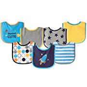 Luvable Friends 7 Piece Drooler Bibs with Waterproof Backing, Blue Spaceship