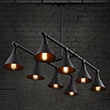 BAYCHEER HL424128 Vintage Industrial Style 8 Light Large Pipe Indoor Lighting Island Light Fixture Hanging Lamp with Cone Metal Black Shade use E26 Bulbs