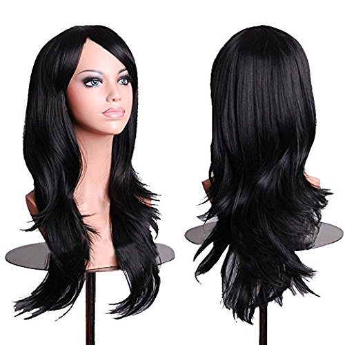 Japanese Costumes For Halloween (Netgo Black Cosplay Wigs for Women Long Wavy Halloween Costume Heat Resistant Party Wigs 26