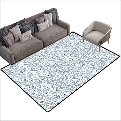 - Polyester Non-Slip Doormat Rugs Colorful Jazz Music,Pattern of Blue Sketchy Saxophones Trombones Timpani Drums Cellos Synthesizers,Blue White 80