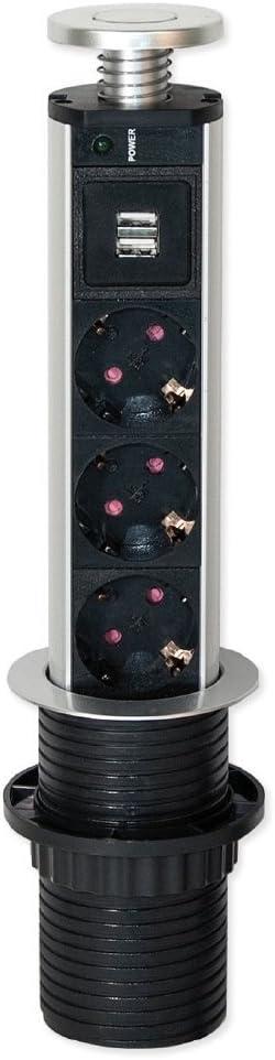 Emuca - Regleta multienchufe retráctil con 3 enchufes schuko EU y 2 Puertos USB, Torre de enchufes Vertical empotrable para encimera de Cocina o Escritorio