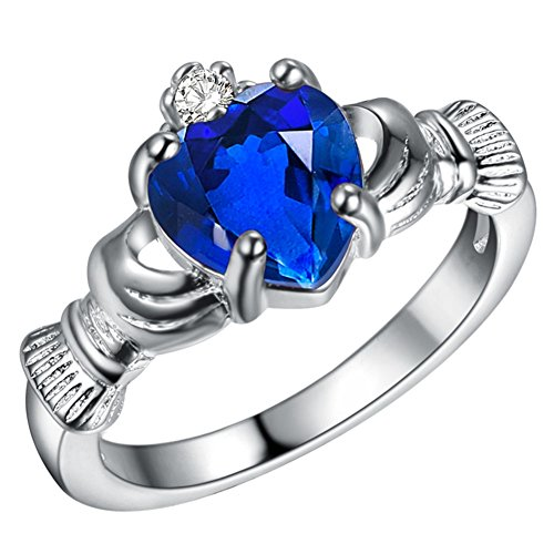 Polished Ladies Claddagh Ring - WIBERN Silver Fashion Jewelry Blue Heart Cubic Zirconia Crystal High Polished Charm Wedding Ring for Women (Color-Size:Blue-9)