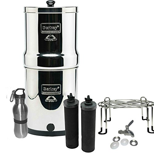 Berkey Filters Hard to come by Stainless Steel Bundle: Black Filters, Stainless Steel Spigot, Stainless Steel Stand and Stainless Inure Water Bottle (2 Gallon Big Berkey)