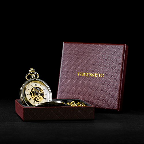 TREEWETO Antique Mens Pocket Watch Skeleton Mechanical Half Hunter Golden Case Roman Numerals by TREEWETO (Image #6)