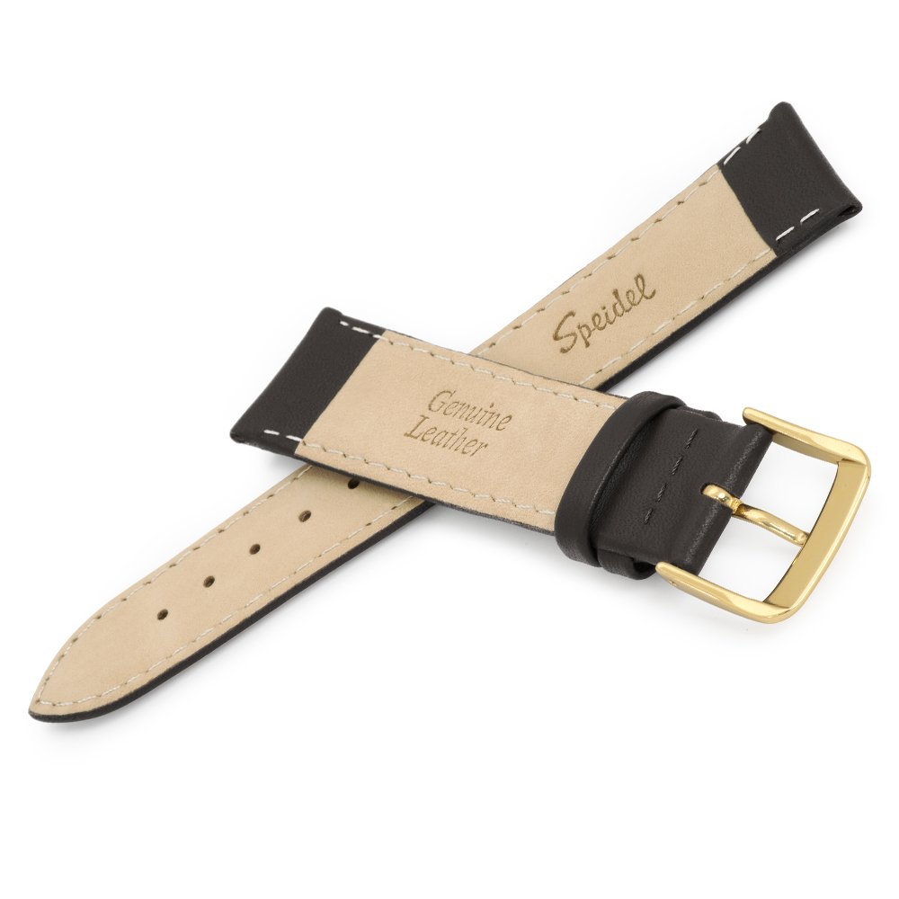 Speidel Genuine Leather Watch Band 24mm Black Calf Skin Replacement Strap, Stainless Steel Gold Tone Metal Buckle Clasp, Watchband Fits Most Watch Brands by Speidel (Image #4)
