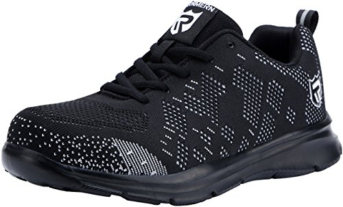 - LARNMERN Men's Steel Toe Shoes, LM-1812 Flyknit Ultra Lightweight Breathable Reflective Safety Work Shoes (10 US, Black)