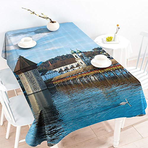 Jinguizi Decorative Fabric Table Cover Panoramic View of Oak Chapel Bridge in Northern Lands Lake European Aged City Printfor Party/Picnic TableclothBlue Brown(70 by 120 Inch Oblong Rectangular)]()