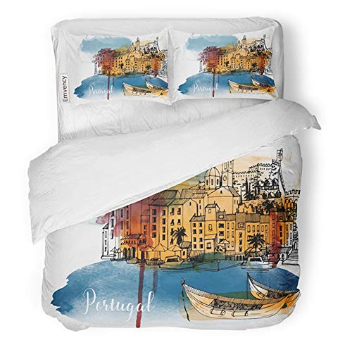 Emvency Bedding Duvet Cover Set King Size (1 Duvet Cover + 2 Pillowcase) Lisbon Portugal Watercolor Skyline Travel Hotel Quality Wrinkle and Stain Resistant]()