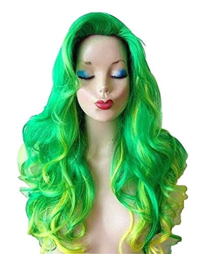CL Copper Red Hair Female Cartoon Mermaid Character Halloween Masquerade Costume Big Wave Wig (Green)
