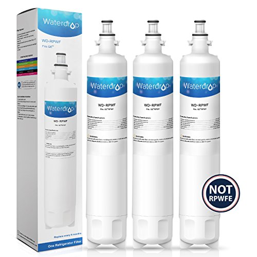 Waterdrop RPWF (Not RPWFE) Refrigerator Water Filter Replacement for GE RPWF (3 Pack)