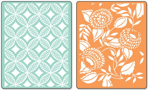 Dena Circles - Sizzix Textured Impressions Embossing Folders 2PK - Blossom, Circles, Leaves & Diamonds Set by Dena Designs