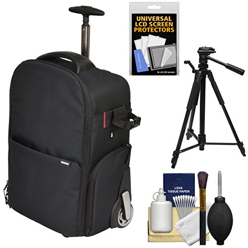 Vivitar Series 1 Trolley DSLR Camera Backpack Case with Wheels (Black) with Tripod + Accessory Kit