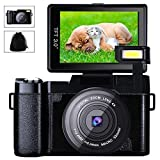 Digital Camera Camcorder Full HD Video Camera 1080p 24.0MP 3.0 Inch 180 Degree Rotatable Screen with Camera Bag and Retractable Flashlight