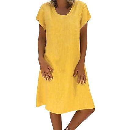 FeiBeauty - Vestido de verano para mujer, de lino, manga ...