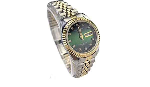 Amazon.com: Swanson Japan Women Watch Reloj de Mujer Two Tone Green face New: Watches