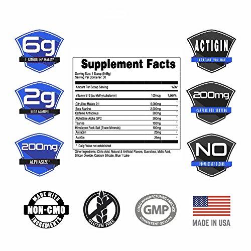 Bucked Up Pre Workout Blue Raz, 6G L-Citrulline, 3 Trademarked Ingredients, Best Tasting Preworkout