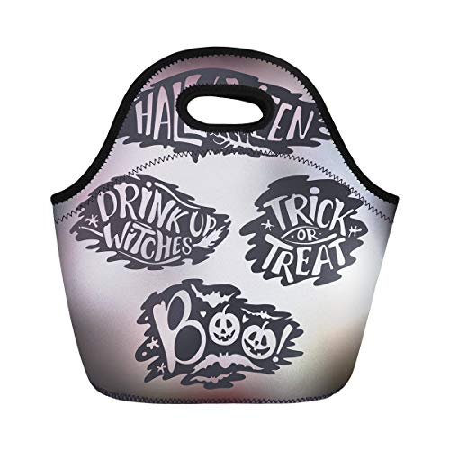 Semtomn Lunch Tote Bag Happy Halloween Signs Lettering
