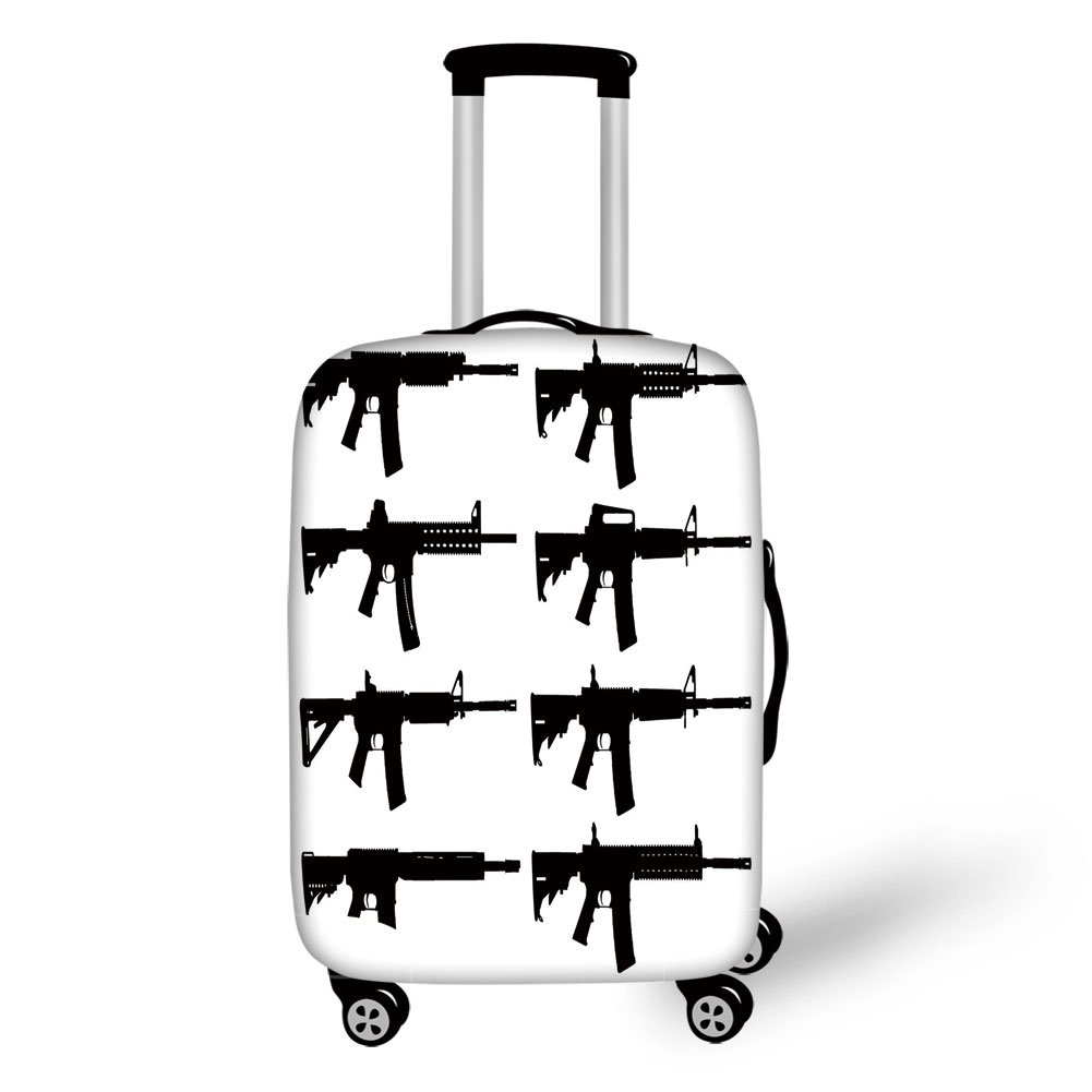 Travel Luggage Cover Suitcase Protector,Black and White,Set of Guns Silhouette Military Army Rifles Shotgun Sniper Firearms Weapon,Black White,for Travel