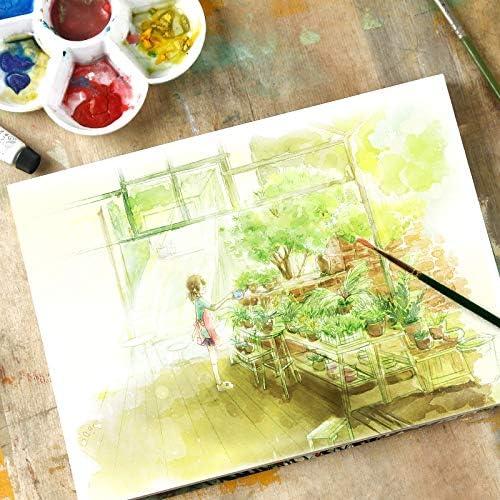 プロの水彩紙手描きの水彩画本、サイズ:148 x 210mm