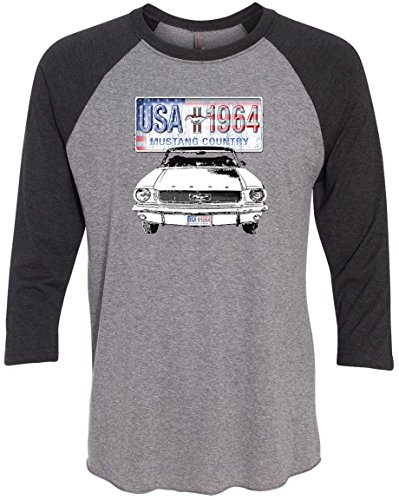 Mustang Fastback Shell - Mens 3/4 Sleeve Mustang Country Raglan Sporty Tee Shirt - Premium Heather Grey/Vintage Black, 3XL