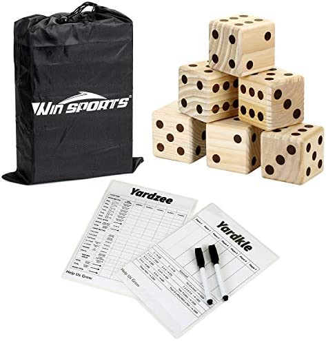 Giant Yard Dice Game Set – Win SPORTS Wooden Classic&Jumbo Dice 3.5″,Lawn Game with 2 Double Sided Yardzee Yardkle Scoreboard,2 Dry Erase Marker Pens and Durable Storage Bag