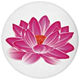 Round Rug Mat Carpet,Lotus,Vibrant Lotus Flower Pattern Spa Zen Yoga Asian Balance Energy Lifestyle Artsy Image,Magenta Red,Flannel Microfiber Non-slip Soft Absorbent,for Kitchen Floor Bathroom