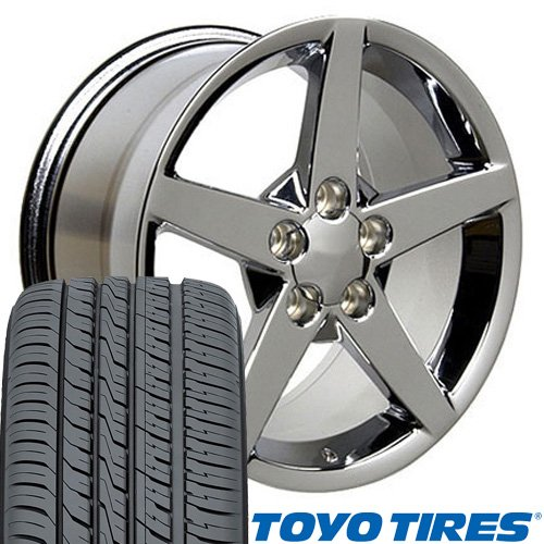 - OE Wheels 17 Inch Fit Corvette Camaro C6 Style Chrome 17x9.5 Rims Toyo Proxes 4 Plus Tires SET