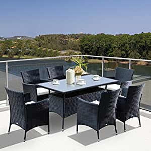 -Rattan-Garden-Furniture-Dining-7-pc-Set-Patio-Rectangular-Table-6-Arm-Chairs-Fire-Retardant-Sponge-Black-New