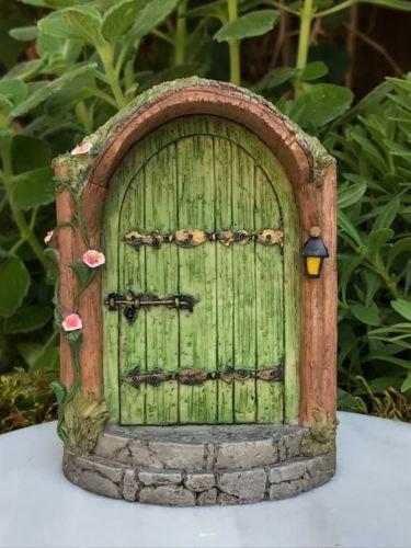Gnome Resin Mystical Green Fairy Door - Miniature Dollhouse Figurine.