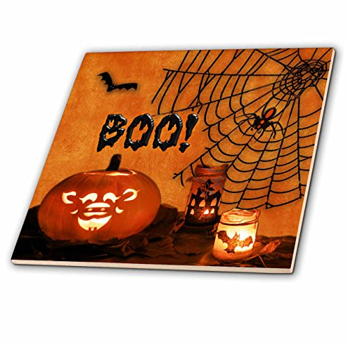 3dRose Boo. Jack-o-lantern, bats and spiders Happy Halloween. - Ceramic Tile, 4-inch (ct_52318_1)