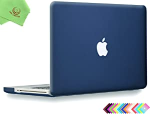 UESWILL Smooth Soft-Touch Matte Hard Shell Case Cover for MacBook Pro 13 inch with CD-ROM (Non-Retina) (Model:A1278) + Microfibre Cleaning Cloth, Navy Blue
