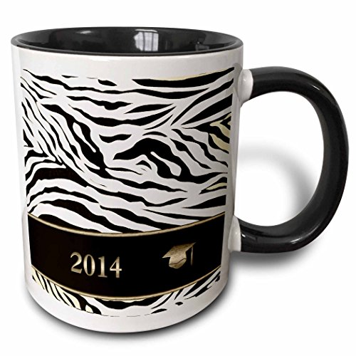 3dRose Beverly Turner Graduation Design - 2014 Zebra Print with Graduation Cap, Sepia, Gold, and Brown - 15oz Two-Tone Black Mug (mug_180906_9) (Zebra Graduation Invitation)
