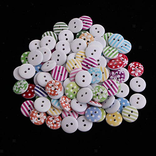 100 Pieces 2-Holes Wooden Round Buttons Suitable for Sewing Crafts Supplies | Color - B (Tin Puzzle Baseball)