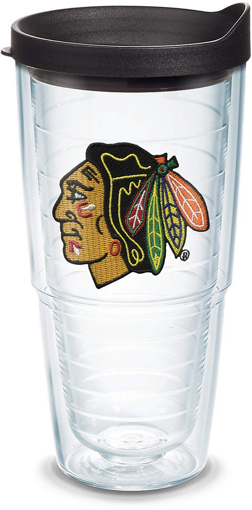 Tervis 1045175 NHL Chicago Blackhawks Primary Logo Tumbler with Emblem and Black Lid 24oz Clear