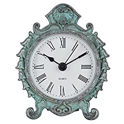 NIKKY HOME Baroque Style Pewter Quartz Round Table Clock with 3.12'' by 1.35'' by 3.87'', Dark Green