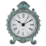 NIKKY HOME Baroque Style Pewter Quartz Round Table Clock 3.12 1.35 3.87'', Dark Green